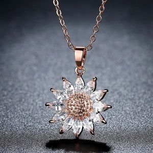 Gold or silver sunflower necklace, flower jewelry